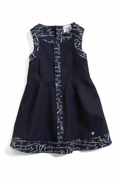 Main Image - Armani Junior Sleeveless Logo Trim Dress (Toddler Girls)