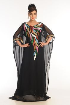This Black Color Kaftan has amazing embroidery work on it which is made up of Georgette Fabric. African Dresses For Women, African Fashion Dresses, Oriental Fashion, Indian Fashion, Farasha Abaya, Black Kaftan, African Traditional Dresses, Caftan Dress, Embroidery Fashion