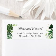 Shop Greenery Tropical Palm Leaves Return Address Label created by OwlsomePaperie. Summer Wedding Invitations, Bridal Shower Invitations, Invites, Invitation Suite, Invitation Cards, Colorful Baby Showers, Tropical, Baby Shower Party Supplies, Personalized Note Cards