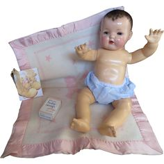 Vintage' RARE RARE  Effanbee Dy-Dee Lou Pink' LARGE Pink & White Bear Blanket & Baby Soap