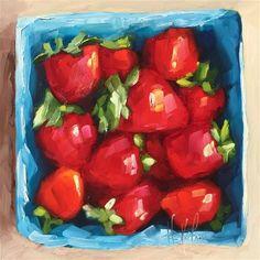 "Daily Paintworks - ""Pint of Strawberries"" - Original Fine Art for Sale - © Hallie Kohn"