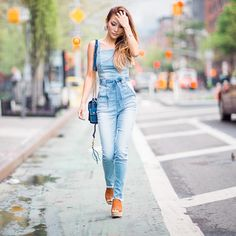 Jessica of NotJessFashion in the Ella Denim Jumpsuit #LoveGUESS