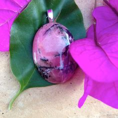 RHODONITE CABOCHON PENDANT  Healing stone  by WhimsicalMystical, $22.00