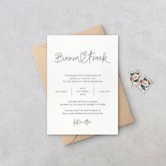 Calligraphy Wedding Stationery, Heart Wedding Invitations, Minimalist Wedding Invitations, Invites, Invitation Ideas, Minimal Wedding, Wedding Announcements, Card Envelopes, Simple Weddings