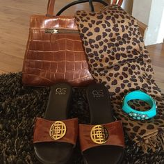 """RUST COLORED PADDED WEDGE ADDS 2"""" Wonderful padded wedge with gold hardware. Great color with denim, leopard,turquoise jewelry, etc.  Purse shown is also in my closet can be bundled for a better price. a.s Studio Shoes Wedges"""