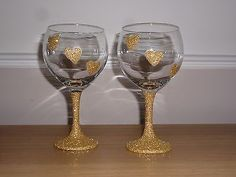 Two Heart Gold Glittered Large Wine Glasses