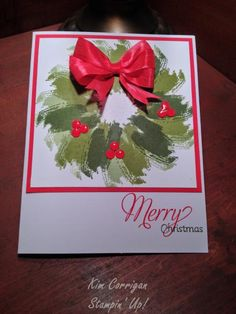 Christmas Card - Brushstroke Christmas Wreath made with Work of Art stamp set from Stampin' Up!