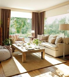 Especial: 30 salones pequeños y confortables · ElMueble.com · Salones - CORTINA OPCION OSCURA