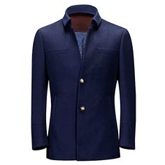 Ding Tong® Men Wool Car Coat Winter Turn Down Collar Polyester Quilted Overcoat