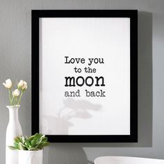 Our  You to the Moon and Back Wall Art stretches affection to intergalactic levels. Like a love note keyed on an old-school typewriter, this sweet sentiment should be displayed for your sweetheart - or entire family - to see as they pass by each day, inspiring warm, fuzzy feelings all around. Makes a fun gift for friends, too. Remember, word art is a fun and easy way to update your d without going overboard. In simple black-and-white type, it slides nicely into a wall gallery…