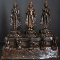 Burmese Bronze Pagan Trilogy of Buddha Statues on shrine with five devotees