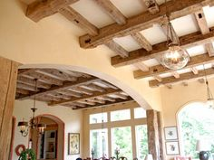 Must have wood beams! Tuscan Old World Home Decor Design Style: Elmwood Reclaimed Timber Hand Hewn Beams, Faux Wood Beams, Exposed Wood, Tuscan Design, Tuscan Style, Buy Reclaimed Wood, World Decor, French Style Homes, Tuscan House