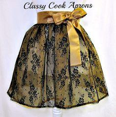 Half Apron SHEER Sexy BLACK Lace & GOLD Organza by ClassyCookAprons, $36.50