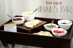 Homemade hummus recipe...just add store-bought toppings from the international section of the grocery store for a casual, fun, no stress food station!