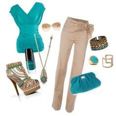 pops of aqua, created by dena-daigle-vercher.polyvore.com. Love it...would never be able to walk in these shoes though....