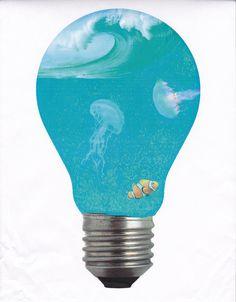 Surrealism light bulb aquarium by on DeviantArt Light Bulb Art, Light Bulb Crafts, Painted Light Bulbs, Weird Fish, Weird Art, Aquarium Drawing, Le Grand Bleu, Fish Drawings, Art Drawings