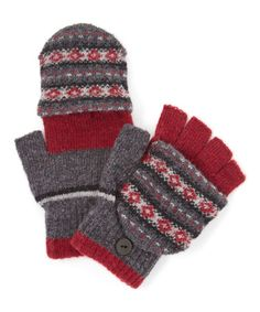 Love this Red & Gray Fair Isle Capped Fingerless Gloves on #zulily! #zulilyfinds