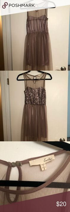 LUSH taupe sequin/mesh formal dress Beautiful sequin/mesh dress perfect for any occasion! It's a size small and the design is shorter in the front and longer in the back. Only been worn ONCE! Lush Dresses High Low