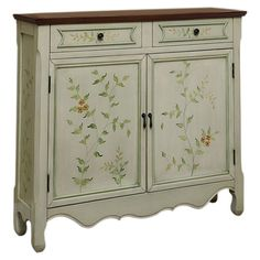2-drawer and 2-door cupboard with hand-painted floral detail.  Product: CupboardConstruction Material: Birch and...