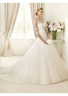 2013 Enticing Scoop Two-double Pleated Wedding Dress With 1/2 Sleeves $209.99