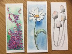 Watercolor Bookmarks, Watercolor Cards, Watercolor Illustration, Watercolour Painting, Watercolor Flowers, Painting & Drawing, Creative Bookmarks, Bookmark Craft, Book Markers