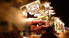 "Masqueraders CC with ""Festival of the Dragon"" at Bridgwater Carnival 2015. Somerset, UK."