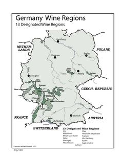 germany wine map and 13 designated wine regions