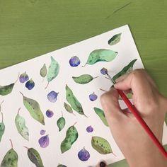 네 눈앞에 내 그림🌷 (@leegreeem) • Instagram photos and videos Watercolor Plants, Floral Watercolor, Plastic Cutting Board, Leaves, Flowers, Watercolor Flowers