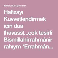 Prayer for Strengthening Memory . Quran, Allah, Prayers, Health Fitness, Memories, Erdem, Lingerie, Decor, Memoirs