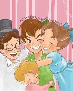 Peter, Wendy, John and Michael - Peter Pan Deco Disney, Walt Disney, Disney Films, Disney Fan Art, Disney And Dreamworks, Disney Love, Disney Magic, Disney Pixar, Peter Pan And Tinkerbell