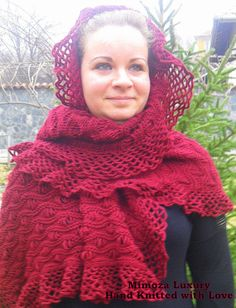 Hand Knitted Shawl, hand crochet scarf, knit shrug in bordo / burgundy color