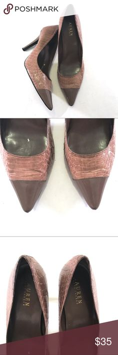 """Ralph Lauren Taupe Abarane Snakeskin Pointy Pumps 🔹Leather snakeskin-patterned upper w/ patent leather toe 🔹Heel height: 4"""" 🔹Bottom right heel & tip of the left toe show some wear 🔹No box included 🔸Note: bottom right heel has been worn down a bit. See last picture.🔸 Lauren Ralph Lauren Shoes Heels"""