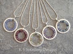 Woven Gemstone Circle Pendants (KS25)