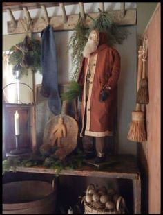 Discover recipes, home ideas, style inspiration and other ideas to try. Primitive Christmas Decorating, Primitive Country Christmas, Primitive Santa, Country Christmas Decorations, Prim Christmas, Antique Christmas, Christmas Past, Primitive Crafts, Winter Christmas