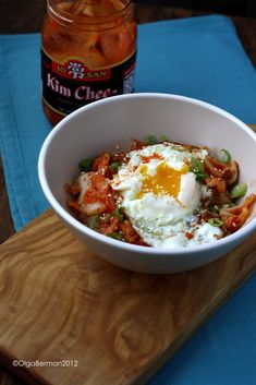 Mango & Tomato: Oatmeal: Love it or Hate it? Oatmeal With Kimchi & Fried Egg