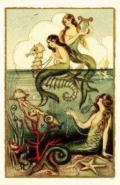 Mermaid Vintage Painting | vintage mermaid art - seahorses | Mermaids