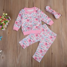 Autumn Toddler Kids Girl Floral Clothes Set Long Sleeve Tops Long Pants Leggings Headband New Hot Outfits Clothing Set Baby Girl Romper, Baby Girl Dresses, Baby Girl Newborn, Baby Dress, Baby Outfits, Kids Outfits, Dress Outfits, Hot Outfits, Girls Formal Dresses