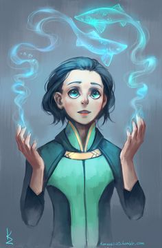 I find this picture amazing because I'm currently writing a fanfic that has a scene where Frigga makes magical blue fish appear for baby Loki. And I imagine them looking VERY similar to this in my head. Wow!