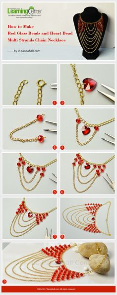 How to Make Red Glass Beads and Heart Bead Multi Strands Chain Necklace