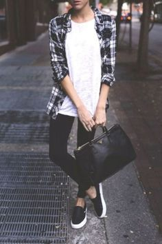 flannel shirt with slip on shoes- Casual outfits ideas with slip on shoes http://www.justtrendygirls.com/casual-outfits-ideas-with-slip-on-shoes/
