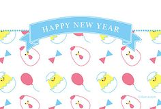 ニワトリとヒヨコ 年賀状 2017 干支 無料 イラスト パステルカラーが可愛い、ニワトリとヒヨコのパターン柄年賀状です!白い空間もあるのでメッセージが書き込めます。友人へのご挨拶にどうぞ。