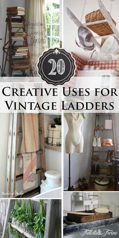How to Decorate with Vintage Ladders {20 Ways to Inspire} the Laundry room hanging ladder is my favorite