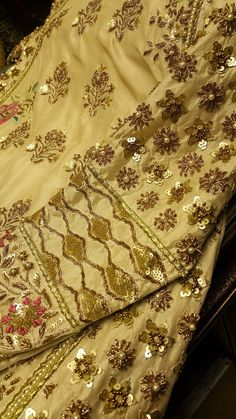 Embroidery on pure silk fabric