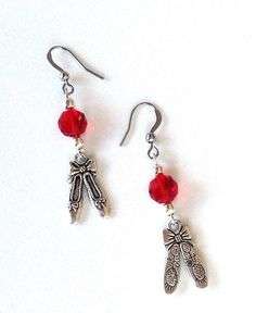 Ballet slipper red crystal dangle earrings