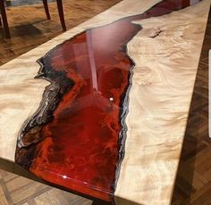 River table bespoke - Epoxy resin table tops - A unique table one of a kind made to order only. ( please note the picture is of a table sold . Epoxy Table Top, Epoxy Wood Table, Epoxy Resin Table, Diy Epoxy, Wooden Tables, Epoxy Resin Countertop, Countertops, Bancada Epoxy, Colored Epoxy