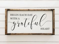 home Sign With Heart - Ready to ship Begin each day with a grateful heart Wood Sign Farmhouse Decor Farmhouse Style Home Decor approx 12 25 x 24 . Handmade Home Decor, Unique Home Decor, Diy Home Decor, Handmade Signs, Room Decor, Diy Wood Signs, Painted Wood Signs, Pallet Signs, Reclaimed Wood Signs