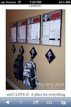 Individual organization charts for kids with backpack holder