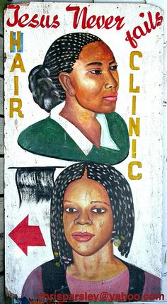 African barber sign These are hand painted signs for street barbers. All are from Ghana and measure about 4 feet long. African American Art, African Art, American Indians, American History, Native American, Arte Popular, African Hair Salon, Illustrations, Illustration Art