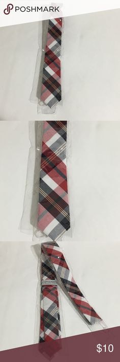 """Plaid Red Black Apparatus Bespoke Collection Tie New with tags Men's Apparatus Bespoke Collection black red white plaid skinny tie. Perfect for a Halloween costume. 56"""" long 2"""" wide. Accessories Ties"""