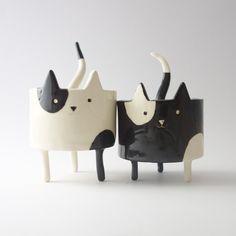 2ème - Pot chat blanc avec la queue en forme de cuillère, chat en céramique, Sculpture en argile